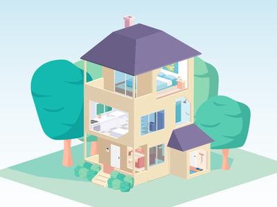 Isometric house illustration flat infographic home house isometric