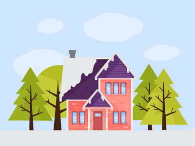 Snowed house infographic snow tree home vector flat illustration house