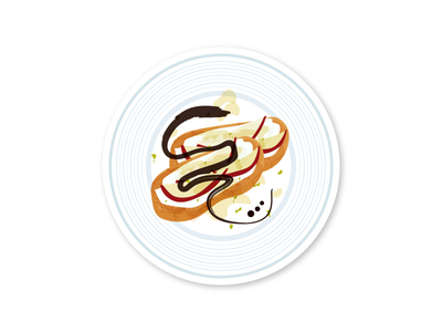 Bruschettas illustration infographic baguette apple plate food balsamic bruschetta