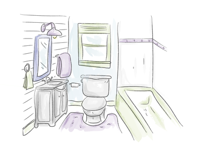 Watercolor Bathroom! sketch draw bathroom watercolor illustration