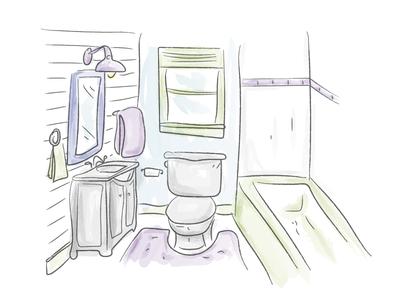 Watercolor Bathroom! sketch draw bathroom watercolor illustration