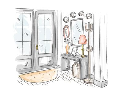 Watercolor Entryway draw illustration house entryway watercolor