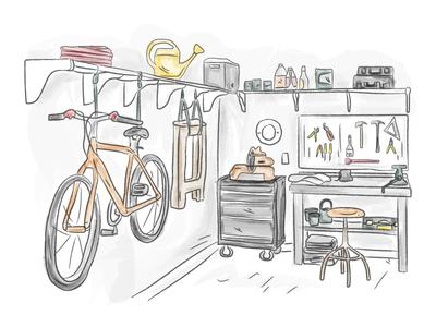 Watercolor Garage house draw illustration watercolor garage