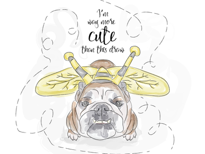 Petunia best boss bulldog draw watercolor illustration dog