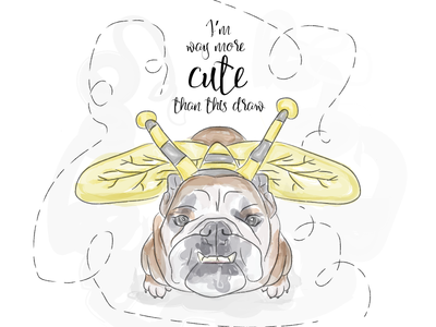 Petunia best boss bulldog draw watercolor illustration dog
