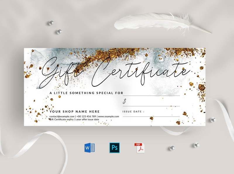 Gift Certificate golden gold modern gift voucher simple voucher minimalist value promotion discount sale gift voucher gift certificate certificate gift offer voucher multipurpose creative clean professional minimal elegant