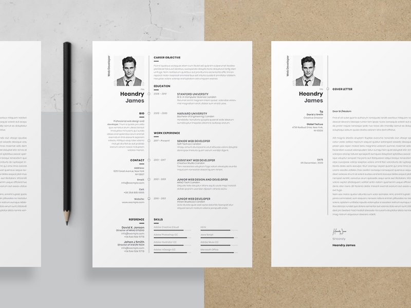Resume job resume minimal clean web developer graphic designer professional elegant cv resume skills template