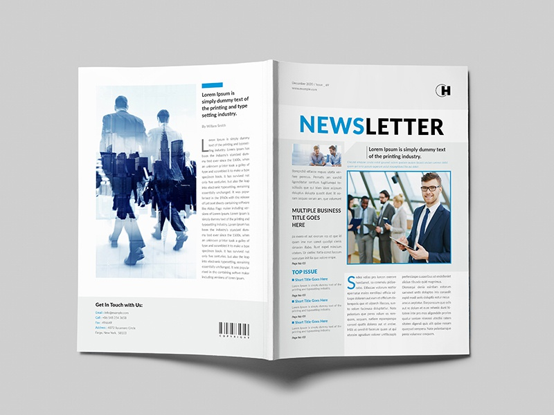 Newsletter multiple corporate business minimal indesign multipurpose clean template elegant newsletter