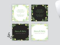Watercolor Floral Wreath Square Business Card Design