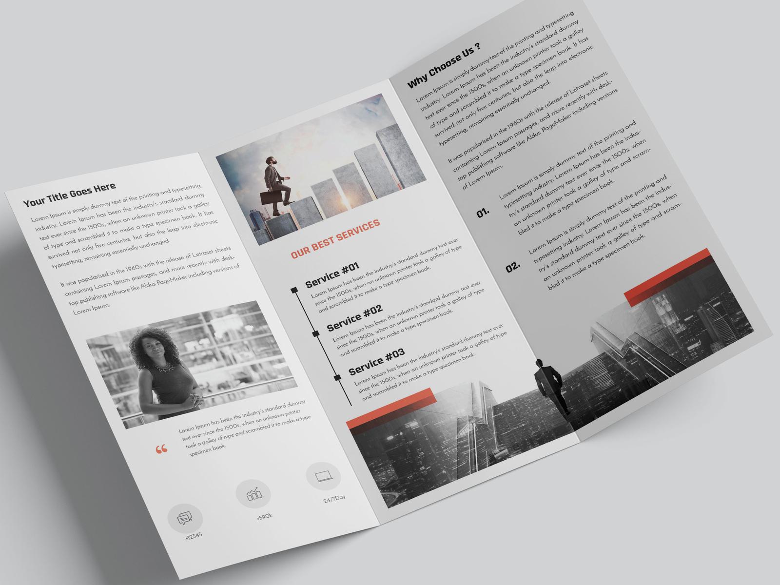 corporate trifold minimalist brochure by amit debnath