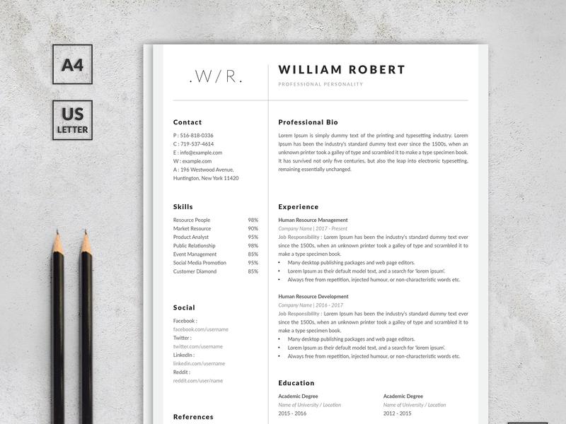 Elegant Resume & Cover Letter templates simple minimalist creative cv design job experience job cv cover letter resume cv design business layout modern professional clean minimal elegant