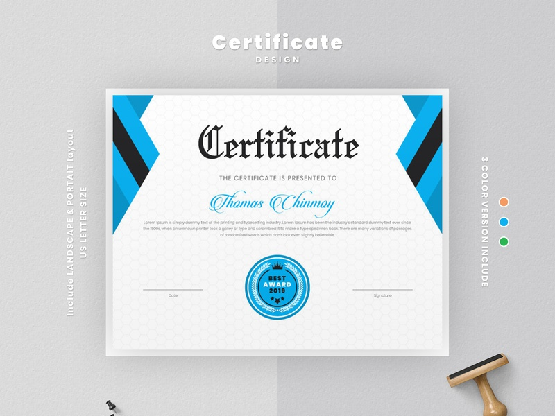 Modern certificate template layout by Amit DebNath on Dribbble