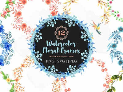 Beautiful watercolor floral frames