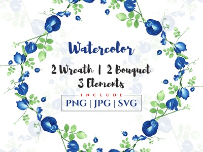 Elegant watercolor floral wreath and bouquet compositions