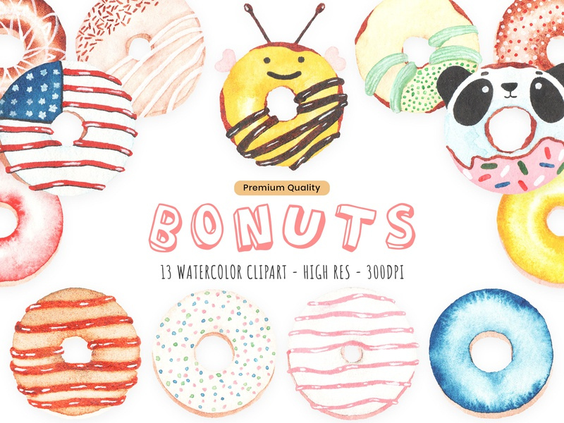 Handmade Watercolor Donuts Clip Art Set love donuts food modern creative illustration elegant clean professional sweet donuts carmel treats yummy strawberry chocolate donuts hand painted bithday food i love donuts glaze krispy kreme