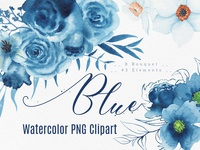 Handmade watercolor blue flowers & bouquets artwork