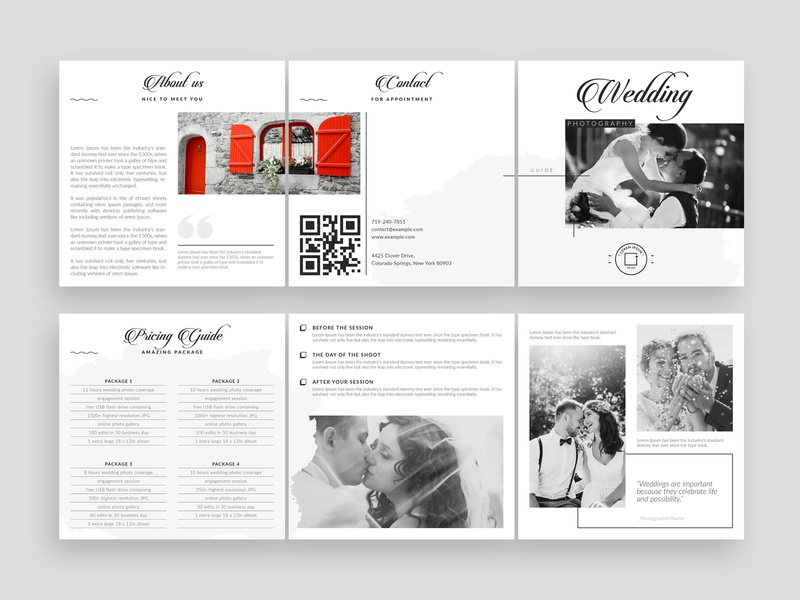 Wedding Photography Pricing Guide multipurpose elegant minimal clean professional minimal brochure brochure layout welcome guide promotional template photographer guide accordion brochure marketing brochure pricing template square brochure pricing guide priceing list brochure template trifold brochure