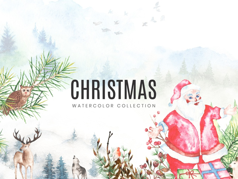 2020 Christmas Watercolor Collection santa claus christmas set christmas bouquet christmas wreath hand painted christmas elements getting card christmas patterns xmas collection merry christmasm