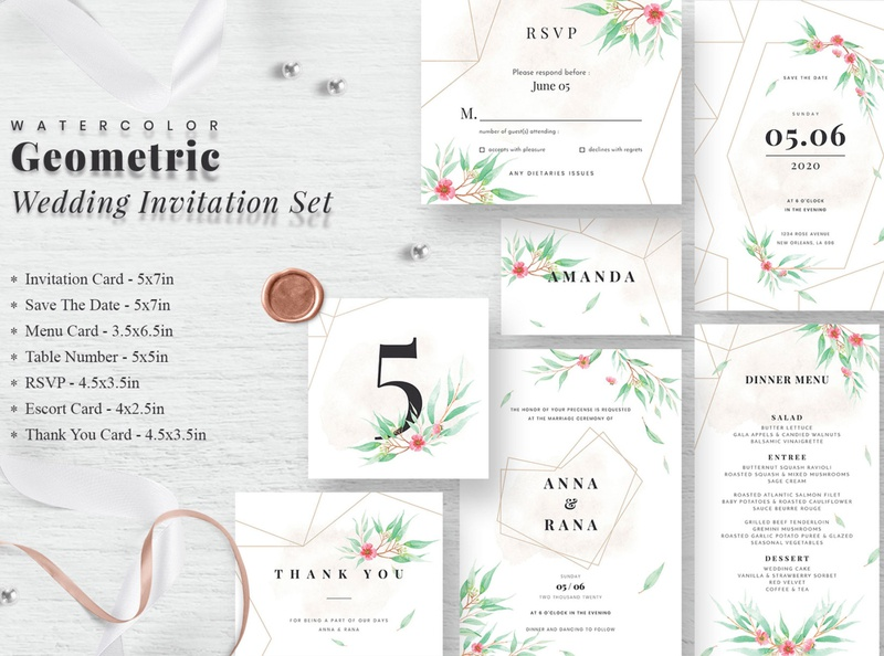 Watercolor Geometric Wedding Invitation Set print template feminine invitation rsvp card save the date card wedding menu card escort card wedding wedding package vintage invitation simple invitation hand drawn invitation wedding cards wedding card elegant invitation card invitation suite revp card save the date geometric invitation invitation set wedding invitation