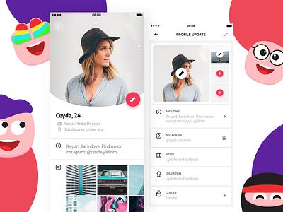 Dating App emojis profile design profile settings profile dating app dating illustration ux ui design app