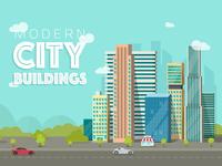 City Buildings town cartoon skyscraper design trees urban landspace cityscape city vector flat building