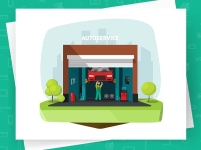 Car Repair Shop Garage Vector repairman mechanic diagnostics automobile flat vector auto garage service shop repair car