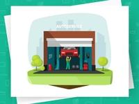 Car Repair Shop Garage Vector