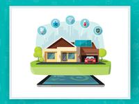 Smart Home Technologies Vector energy solar technology cartoon vector flat smart house home