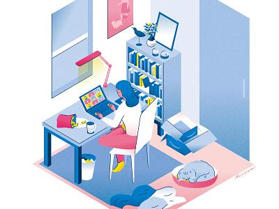 remotework #01 remotework room illustration