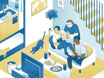 shared house room illustration