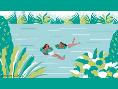 swimming motiongraphics landscape illustration