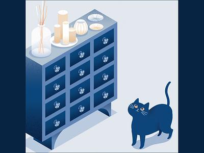 Onomatopoeia drawers drawer cat animation motiongraphic illustration