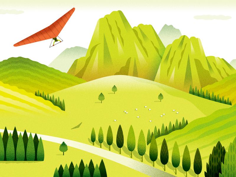"""FUJITSU """"My Cloud"""" calender September forest illustration landscape"""