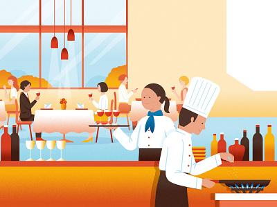 TokyoGas Pamphlet restaurant cooking illustration
