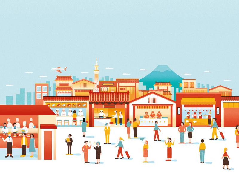 TokyoGas Pamphlet landscape illustration