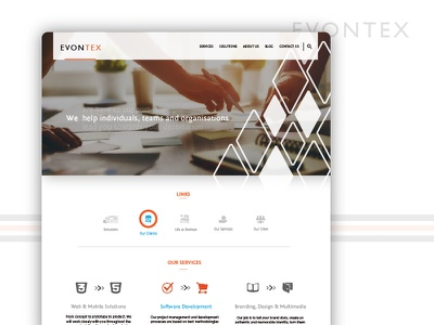 Evontex - Landing Page landing page color theory user experience software design website color ui ux
