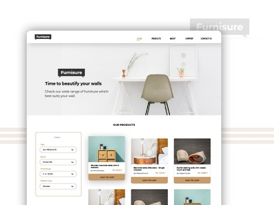 Furnisure - Landing Page Concept ux ui funiture new web website creative space design user experience color theory landing page