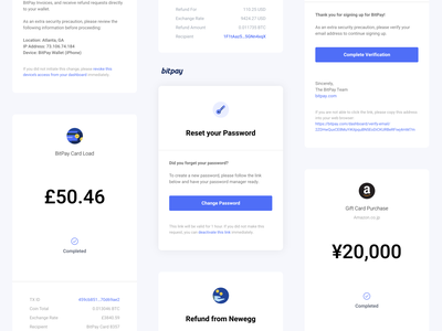 BitPay Email Design Refresh ux typography receipt product design payment email templates email design crypto branding blockchain bitcoin