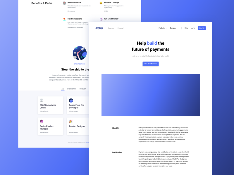 BitPay Careers Page Refresh ui logo round product design illustration payment crypto blockchain bitcoin landing page branding website careers page