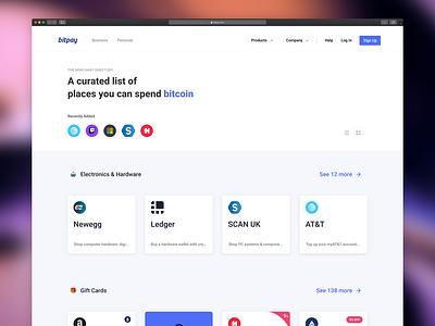 BitPay Directory website animation minimal ui logo ux payment ethereum crypto blockchain bitcoin list directory store shop ecommerce web design product design branding