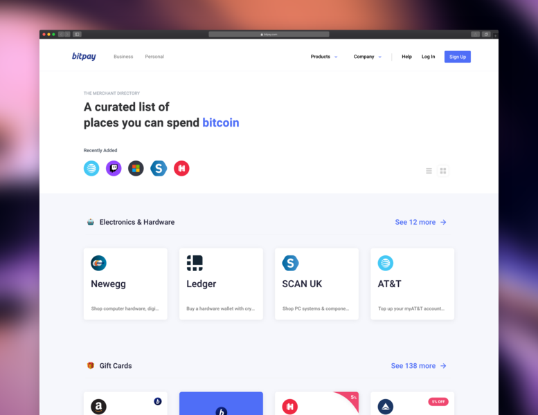 BitPay Directory website animation minimal ui logo ux payment ethereum crypto blockchain bitcoin list directory store shop ecommerce web design product design branding