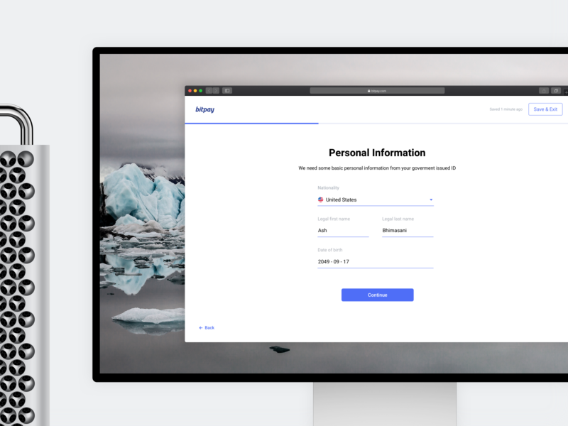 BitPay Personal Account Verification - Desktop bitcoin ui ux crypto branding blockchain desktop browser account forms product design kyc verification onboarding