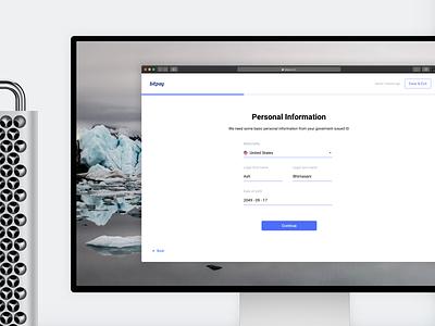 BitPay Personal Account Verification - Desktop bitcoin ui ux crypto branding blockchain desktop browser account forms product design kyc verification onboarding