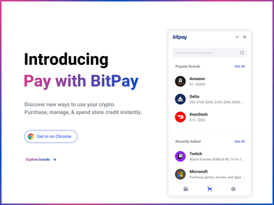 Introducing Pay with BitPay gift cards gradient chrome extension amazon ethereum ecommerce animation ui ux product design payment branding bitcoin crypto blockchain