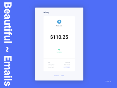Bitcoin Payment Receipt Concept product design blockchain receipt payment crypto bitcoin transaction email receipt email design flat branding ux ui