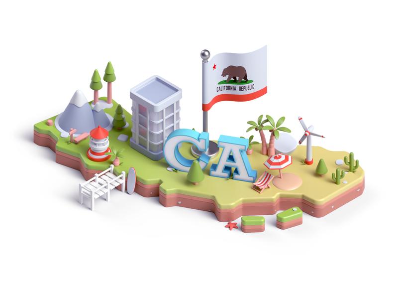 California Republic 3d art landscape modeling california san francisco c4d design illustration 3d
