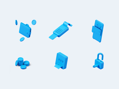 UniBank - illustrations mobile protection security cash app card wallet coin icons unibank illustration modeling c4d 3d