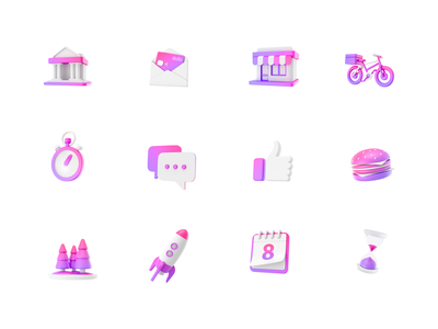 Swile - Set of static icons application finance banking modeling design illustration branding icons c4d 3d ui