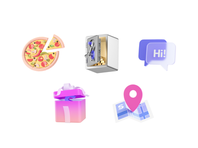 Swile - Set of static icons #2 application delivery finance illustration branding icons modeling c4d graphic design ui 3d