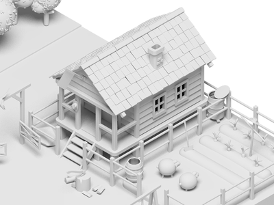 The Lonely Farm #1 sheep house wip 3d isometric country farm village illustration rocketboy rboy